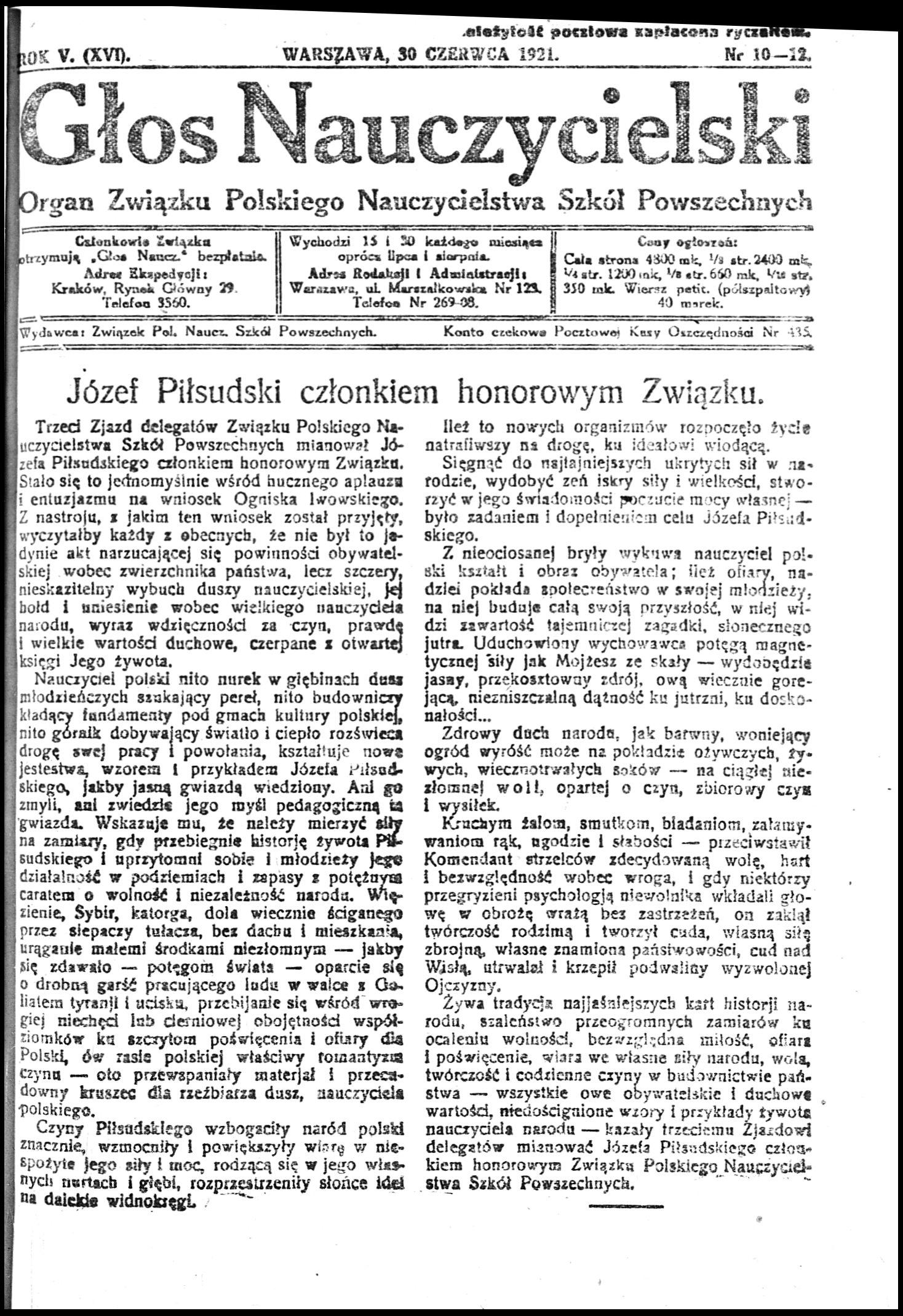 Marszałek Józef Piłsudski Honorowy Członek Znp 152